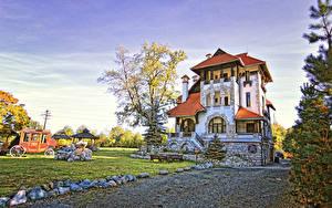 Hintergrundbilder Rumänien Haus Stein Herrenhaus Design Bäume Comuna Bran Brasov