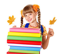 Wallpaper School White background Little girls Glance Smile Hands Foliage Books Plait Children