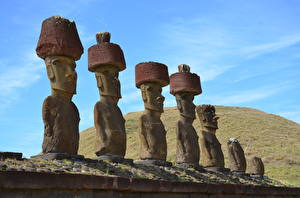 Pictures Sculptures Made of stone Moai, Easter island Nature