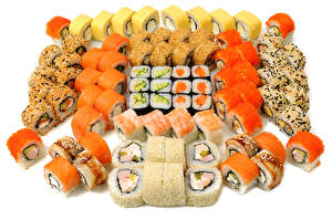 Pictures Seafoods Sushi Many White background Food