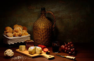 Wallpaper Still-life Grapes Cheese Baking Sausage Knife Wine Cutting board Bottles Highball glass Food