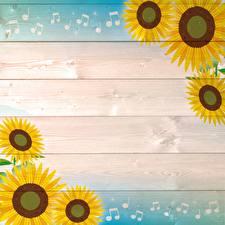 Fotos Sonnenblumen Bretter Vorlage Grußkarte