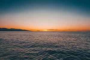 Fotos Morgendämmerung und Sonnenuntergang Meer Horizont