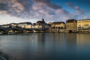Bilder Schweiz Haus Flusse Brücke Basel Städte