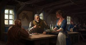 Pictures The Witcher 3: Wild Hunt Geralt of Rivia Fanart tavern Girls