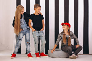 Image Three 3 Boys Little girls Smile Baseball cap Hair Jeans child