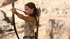 Images Tomb Raider 2018 Alicia Vikander Lara Croft Bow weapon Celebrities Girls