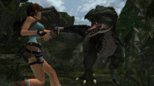 Wallpaper Tomb Raider Tomb Raider Anniversary Dinosaurs Pistols Lara Croft Games 3D_Graphics Girls