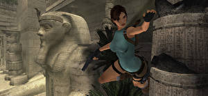 Photo Tomb Raider Tomb Raider Anniversary Pistols Lara Croft Jump 3D_Graphics Girls