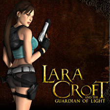 Bilder Tomb Raider Pistole Lara Croft Lara Croft and the Guardian of Light Spiele Mädchens