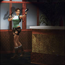 Hintergrundbilder Tomb Raider Pistole Lara Croft Posiert Lara Croft and the Guardian of Light 3D-Grafik Mädchens