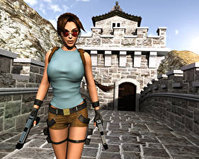 Picture Tomb Raider Pistols Lara Croft Eyeglasses Tomb Raider 3: Adventures of Lara Croft vdeo game Girls 3D_Graphics