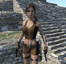 Images Tomb Raider Tomb Raider Underworld Pistol Lara Croft 3D_Graphics Girls