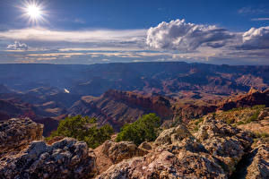 Bilder USA Grand Canyon Park Himmel Sonne Wolke Canyons Arizona Natur