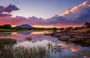 Hintergrundbilder Vereinigte Staaten See Abend Sonnenaufgänge und Sonnenuntergänge Wolke Prescott, Willow Lake, Arizona Natur