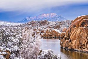 Bilder Vereinigte Staaten Gebirge Felsen Schnee Granite Dells, Prescott, Arizona