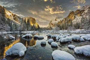 Bilder Vereinigte Staaten Parks Winter Berg See Stein Landschaftsfotografie Yosemite Schnee