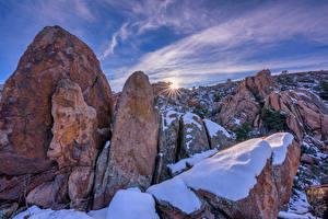 Hintergrundbilder USA Steine Sonnenaufgänge und Sonnenuntergänge Felsen Schnee Granite Dells