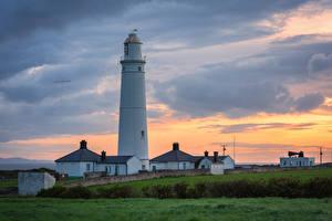 Fotos Vereinigtes Königreich Abend Leuchtturm Wales Nash point lighthouse Natur