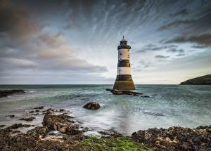 Fotos Vereinigtes Königreich Leuchtturm Wales Wolke Penmon Lighthouse Natur