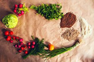 Fotos Gemüse Kohl Radieschen Tomaten Reis Buchweizen Dill Getreide