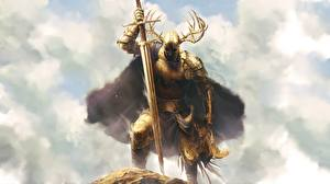 Images Warriors Knight Horns Armor Gold color Swords Fantasy