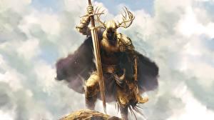 Bakgrunnsbilder Kriger Ridder Horn (anatomi) Rustning Gull farge Sverd Fantasy