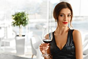 Image Wine Brown haired Staring Frock Stemware Girls