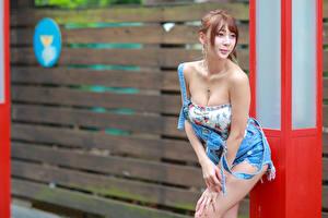 Hintergrundbilder Asiatische Posiert Lächeln Dekolleté junge Frauen
