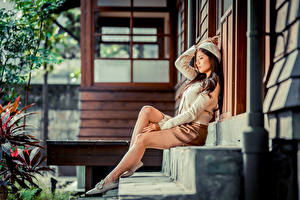 Pictures Asiatic Sit Legs Skirt Beret Stairway