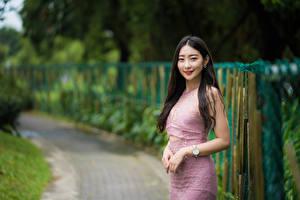 Bakgrunnsbilder Asiatisk Smil Håret Hender Kjole Blikk Unge_kvinner