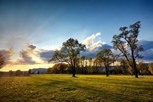Bureaubladachtergronden Oostenrijk Grasland Hemelgewelf Bomen Wolken Engerwitzdorf