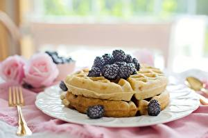 Pictures Blackberry Berry Waffles Plate Fork