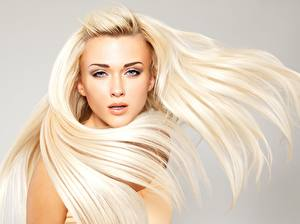 Pictures Blonde girl Beautiful Modelling Hair Staring Hairdo