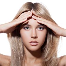 Picture Blonde girl Modelling Face Hands Staring Dark Blonde Hair Beautiful female