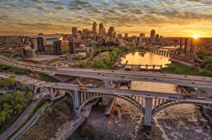 Hintergrundbilder Brücke Morgendämmerung und Sonnenuntergang Gebäude Vereinigte Staaten Minnesota, Minneapolis, Mississippi River