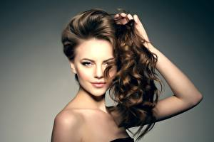 Pictures Brown haired Beautiful Model Makeup Hair Glance Hairstyle