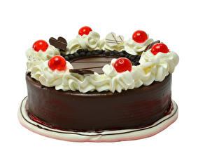 Bilder Torte Schokolade Beere Weißer hintergrund Design