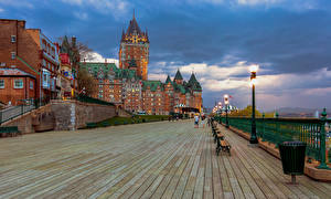 Image Canada Quebec Building Evening Street lights Hotel Chateau Frontenac Cities