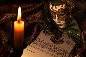 Pictures Candles Flame Masks Notes