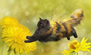 Pictures Cat Bees Creative Dandelions Wings Flight