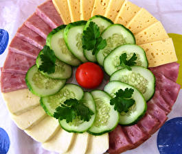 Pictures Cheese Ham Cucumbers Tomatoes Sliced food