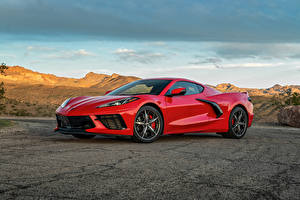 Fotos Chevrolet Rot Metallisch 2020 Corvette Stingray Z51 automobil