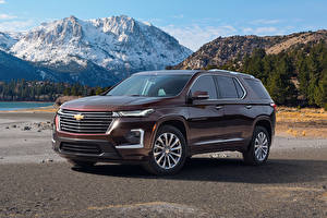 Bakgrundsbilder på skrivbordet Chevrolet Bruna Metallisk 2021 Traverse Premier bil