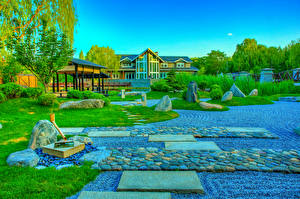 Picture China Park Stone HDR Design Lawn Bush Beijing Zen Garden