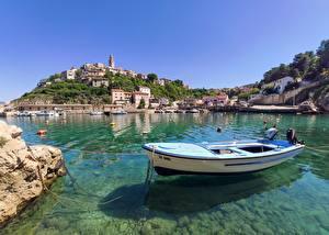 Hintergrundbilder Kroatien Boot Felsen Kleine Bucht Hügel Vrbnik Natur
