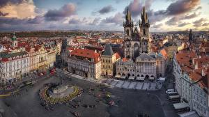 Picture Czech Republic Prague Houses Town square Street Tower From above Plaza de la Ciudad Vieja Cities