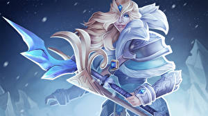 Photo DOTA 2 Crystal Maiden Mage Staff vdeo game Fantasy Girls