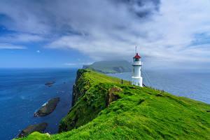 Images Denmark Island Ocean Lighthouses Cliff Holmur Lighthouse, Mykines, Faroe Islands Nature