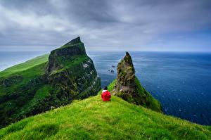 Wallpaper Denmark Island Ocean Cliff Horizon Mykines, Faroe Islands Nature